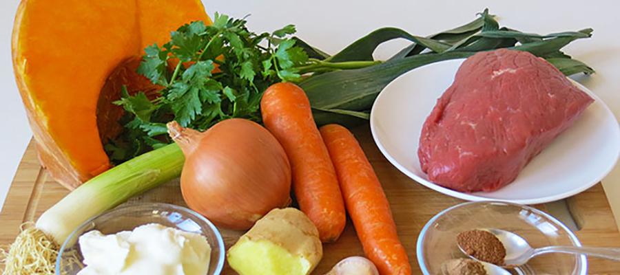 Овощное рагу с грибами и телятиной